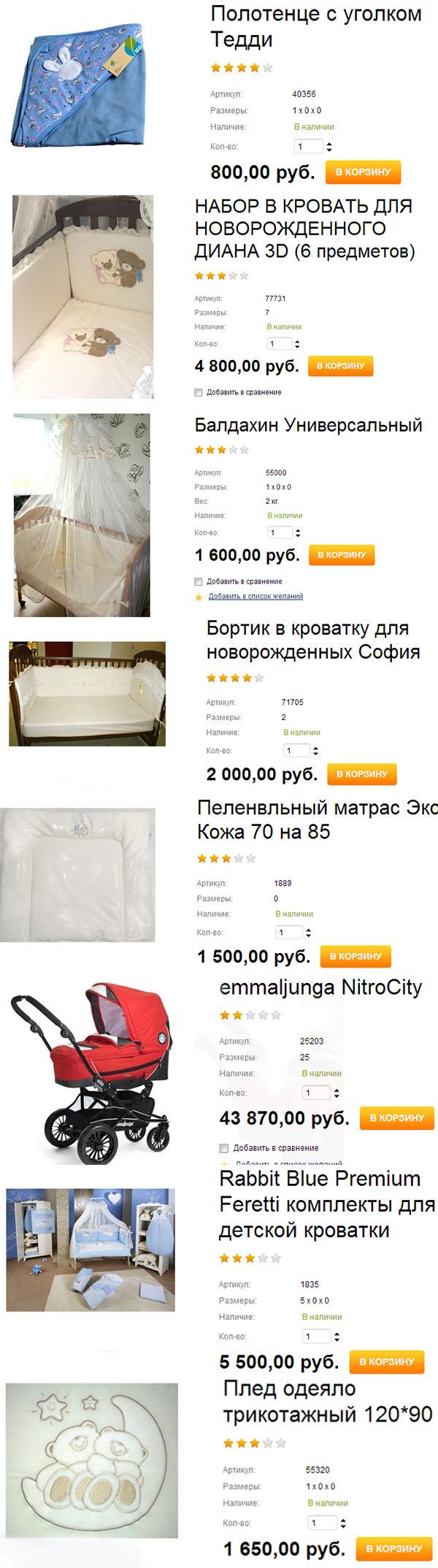 Товары и цены в магазине Гусевых