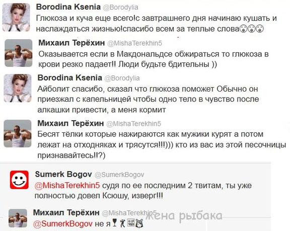 Переписка Михаила Терёхина с Ксенией Бородиной в твиттере