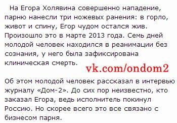 Статья про Егора Холявина