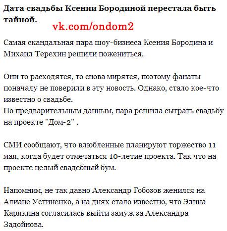 Статья про Ксению Бородину и Михаила Терёхина