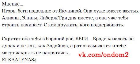 Вконтакте про Элину Карякину и Анну Якунину
